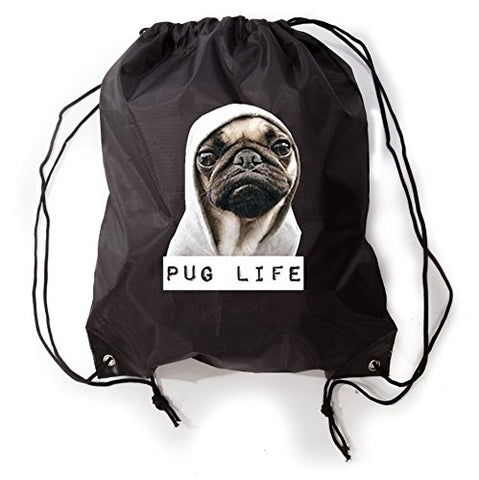 Pug Life Funny Novelty Drawstring Gym Bag Sneaker Bag