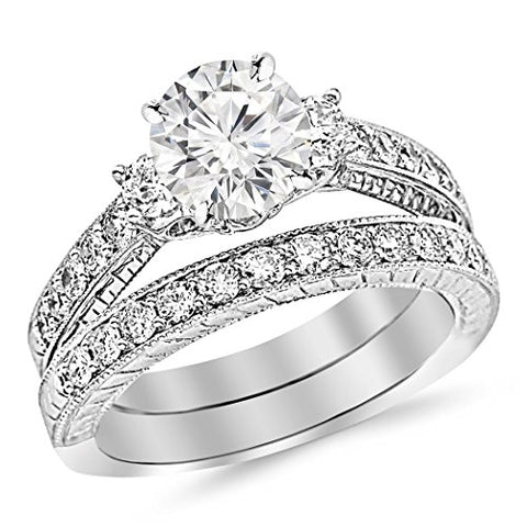 1.88 Carat t.w. ROUND Shape/Center Three Stone Vintage With Milgrain & Filigree Bridal Set with Wedding Band & CZ Engagement Ring