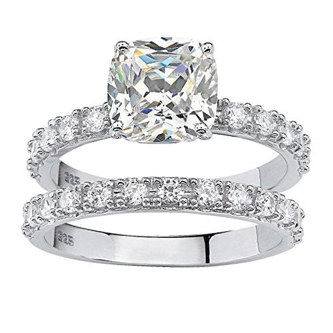 Princess-Cut White Cubic Zirconia Platinum over .925 Sterling Silver 2-Piece Bridal Ring Set