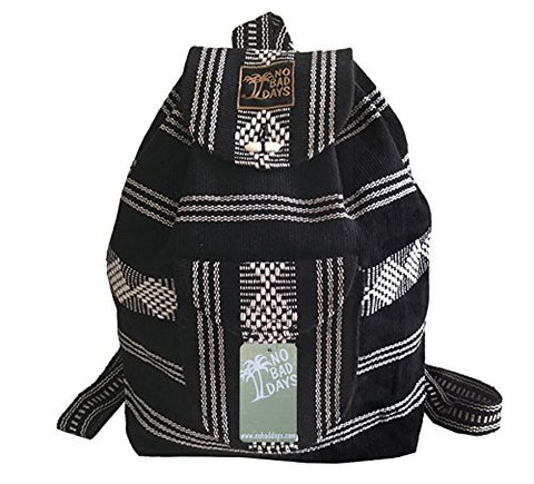 Baja Backpack Ethnic Woven Mexican Bag - Black & White Stripes v2