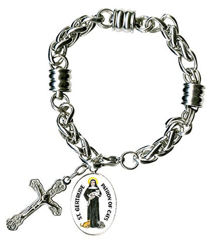 St Gertrude Patron of Cats & Cross Steel 7  to 8  Bracelet