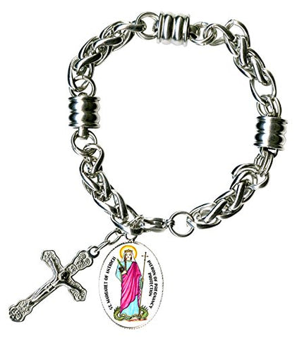 St Margaret of Antioch Saint of Childbirth Charm & Cross Stainless Steel 7  to 8  Bracelet