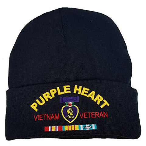 US Military Purple Heart Vietnam Veteran Black Skull Beanie Officially Licensed Cap
