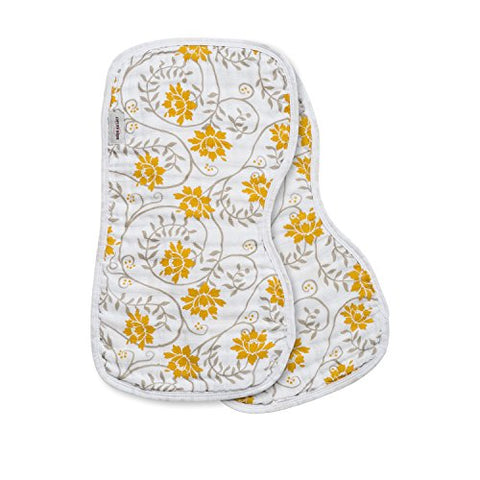 Bebe au Lait 2 Piece Contoured Muslin Burp Cloth Set, Soleil