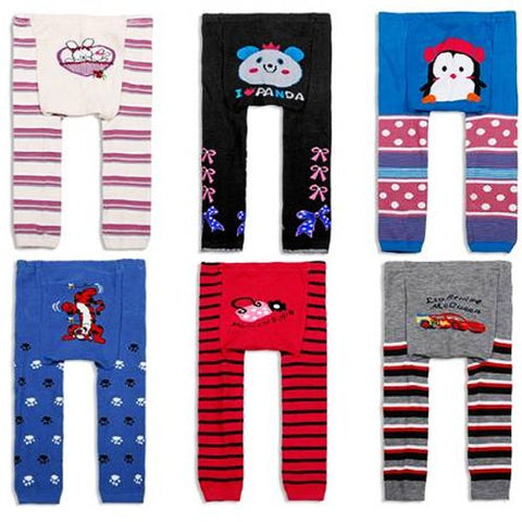 Wrapables Set of 6 Baby and Toddler Leggings, Come Play With Me, 12-24 Months