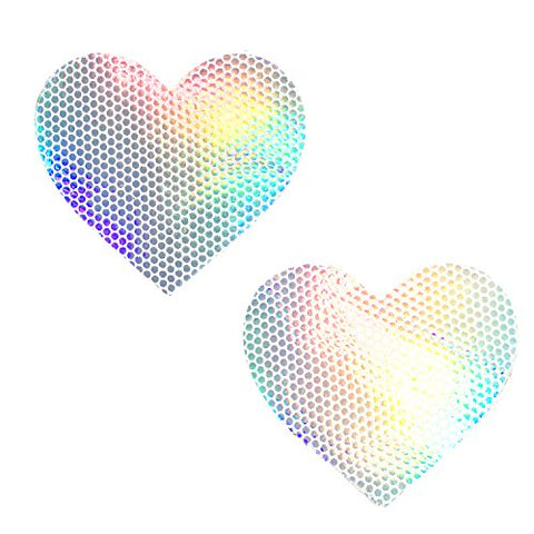 White Holographic Heart Nipztix Pasties - Nipple Covers for Raves, Festivals, and Parties - One Pair