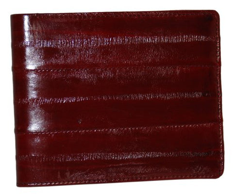 New Mens Eel Skin Leather Bifold Credit Card Burgundy Wallet
