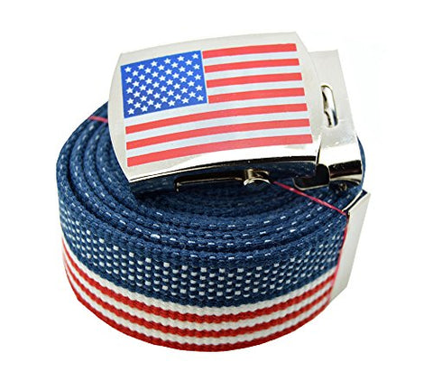 Usa Flag  Canvas Military USA Flag Web Belt & Buckle 60 Inch