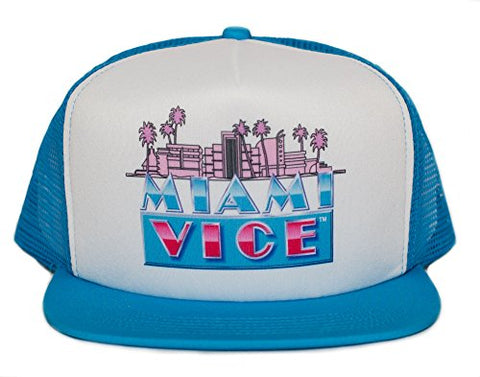 Miami Vice 80s Unisex-Adult One-size Trucker Hat Aqua/White