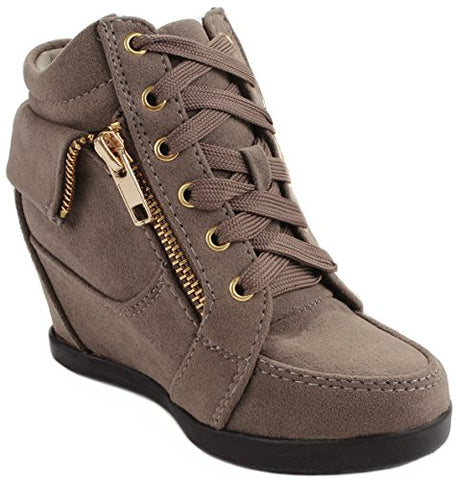 Peter Gladys24 Kids Taupe Fashion Leatherette Suede Lace-up High Top Wedge Sneaker Bootie-9