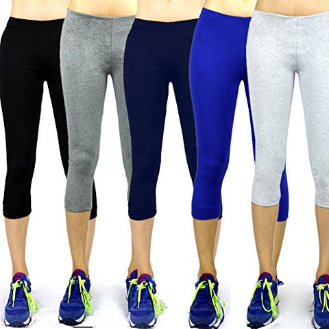The Elixir Fashion Stretch Cotton Capri Yoga Pants Leggings Tights Slim Fit, Ash Color Large