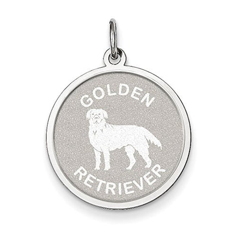 Sterling Silver Golden Retriever Disc Charm