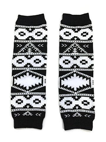 KWC - American Indian Tribal Black White Baby Toddler Leg Warmer (Coyote Tracks)