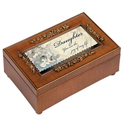 Daughter Rich Walnut Finish Petite Jewelry Music Box - Plays You Light Up My Life