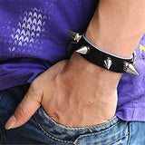 JOVIVI Punk Style Genuine Leather Bracelet Bangle with Rivets Spiked Accent