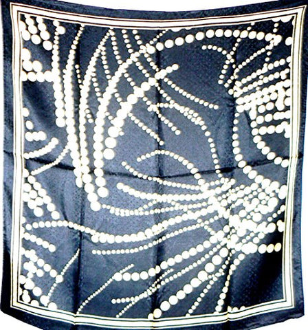 Silk Salon Brand New 100% Jacqard Charmeuse Silk Scarf Shawl Wrap Black A280
