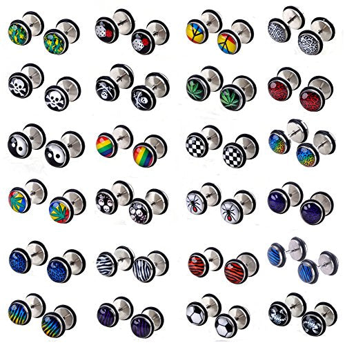 8d3c90d9695e3 Shuning 20pcs Cheater Fake Ear Plugs Satinless Steel Gauges Illusion Tunnel  Piercing Ear Stud Screw Earrings 10style