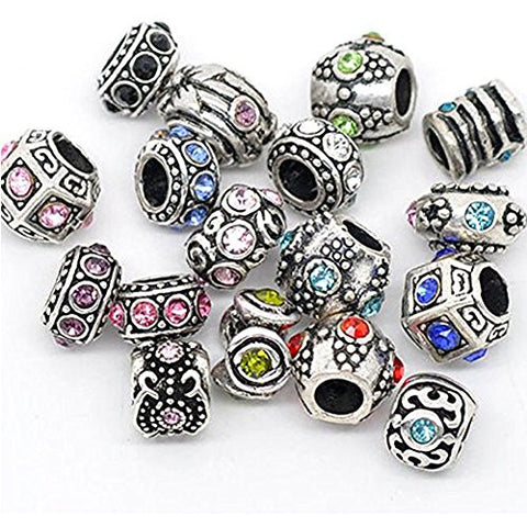 Ten Assorted Rhinestone Charms for snake Chain charm Bracelet
