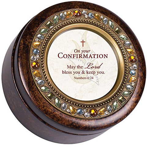 Confirmation Lord Bless You Burlwood Finish Round Jeweled Music Box Plays Tune How Great Thou Art