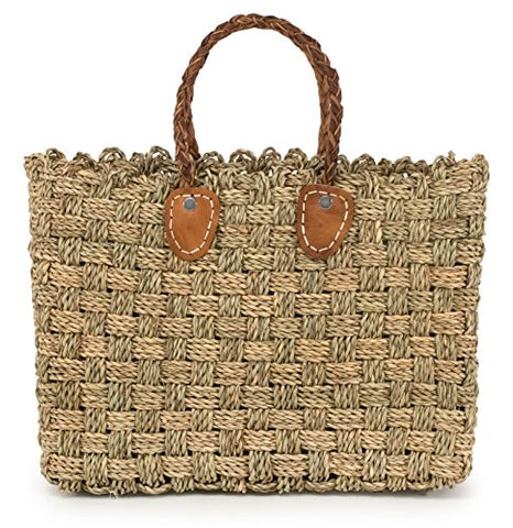 Moroccan Straw Tote Bag w/ Brown Leather Handles, 15.5 Lx5 Wx11.5 H - Granada Sm