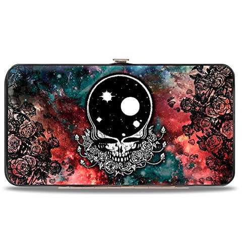 Grateful Dead Psychedelic Rock Band Rose Skull in Space Hinged Wallet