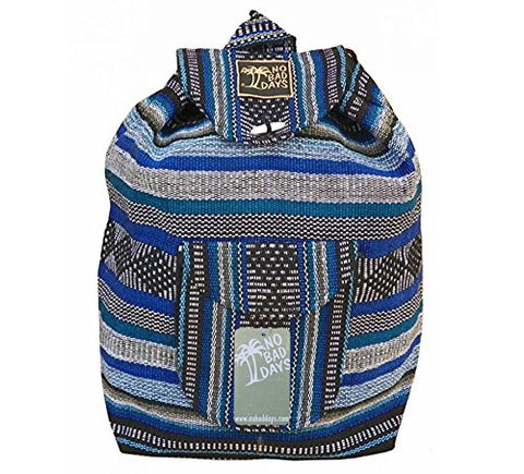 No Bad Days Baja Backpack Ethnic Woven Mexican Bag - MultiColor Blue - Medium