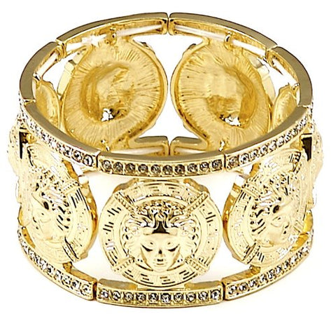 GWOOD Medusa 7 Heads Iced Out Bangle Stretch Bracelet Gold Color