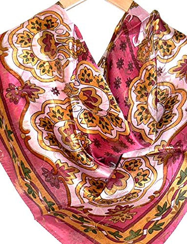 Silksalon Large 100% Charmeuse Silk Scarf Shawl Wrap Gold Thread A1301
