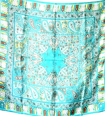 Silk Salon Brand New 100% Jacqard Charmeuse Silk Scarf Shawl Wrap Paisley Blue A279