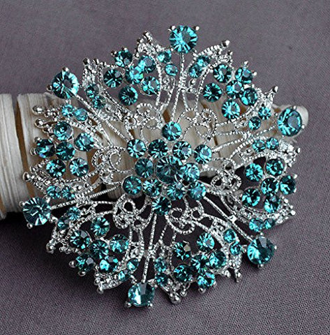 Teal Blue Aqua Blue Rhinestone Brooch Crystal Wedding Bridal Brooch Bouquet Cake Decoration Hair Comb Shoe Clip Supply BR235
