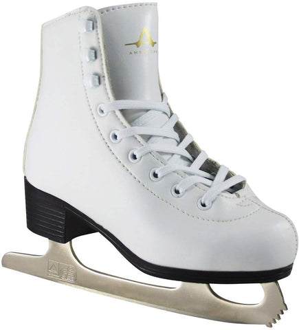 American Athletic Shoe Girl'S American Leather Lined Figure Skates, White, 11
