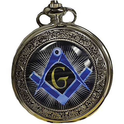 Freemason Stainless Steel Pocket Watch With Colorful Square & Compass Symbol