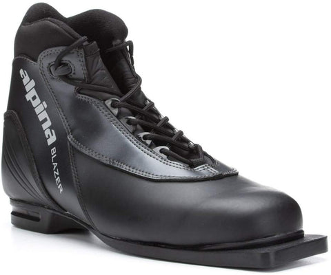 Alpina Sports Blazer Cross-Country Nordic Classic Ski Boots With 3-Pin Soles, Black, 37
