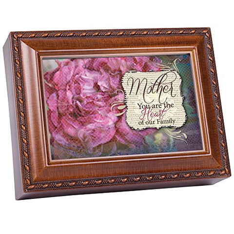 Mother Mom You are the Heart of Family Woodgrain Music Box / Jewelry Box Plays Wind Beneath Wings