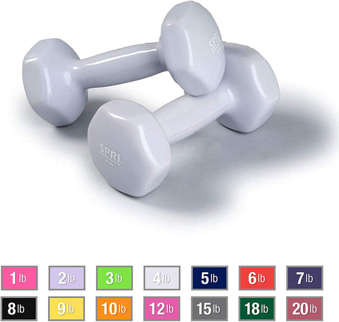 Spri Dumbbells Deluxe Vinyl Coated Hand Weights All-Purpose Color Coded Dumbbell For Strength Training (Set Of 2) (Light Grey, 4-Pound)