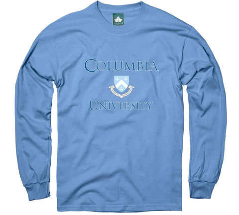 Ivysport Columbia University Long-Sleeve T-Shirt, Crest, Light Blue, Medium