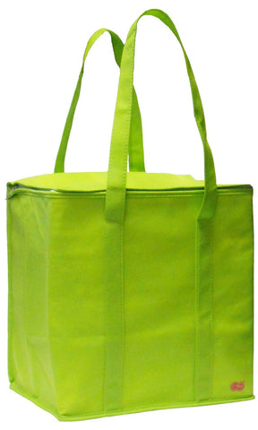 Large Insulated Zippered Tote Bag (Lime Green)