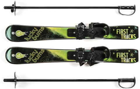 Lucky Bums Toddler Kids Beginner Snow Skis And Poles Set, Green
