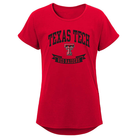 Ncaa Texas Tech Red Raiders Girls Outerstuff Short Sleeve Dolman Tee, Team Color , Youth Large (12-14)