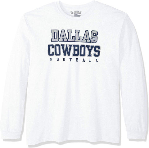 Nfl Dallas Cowboys Mens Long Sleeve Practice Tee, White, Small