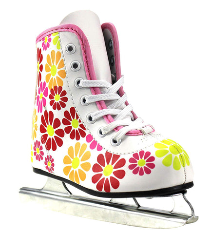 Girls American Double Runner Ice Skate,Flower Power,9