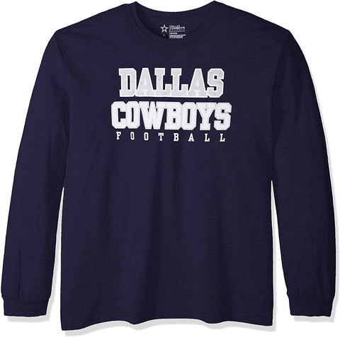 Nfl Dallas Cowboys Mens Long Sleeve Practice Tee, Navy, Xx-Large