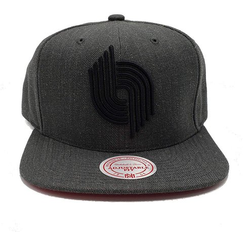 Mitchell & Ness Portland Trailblazers Dark Heather Wool Adjustable Snapback Hat