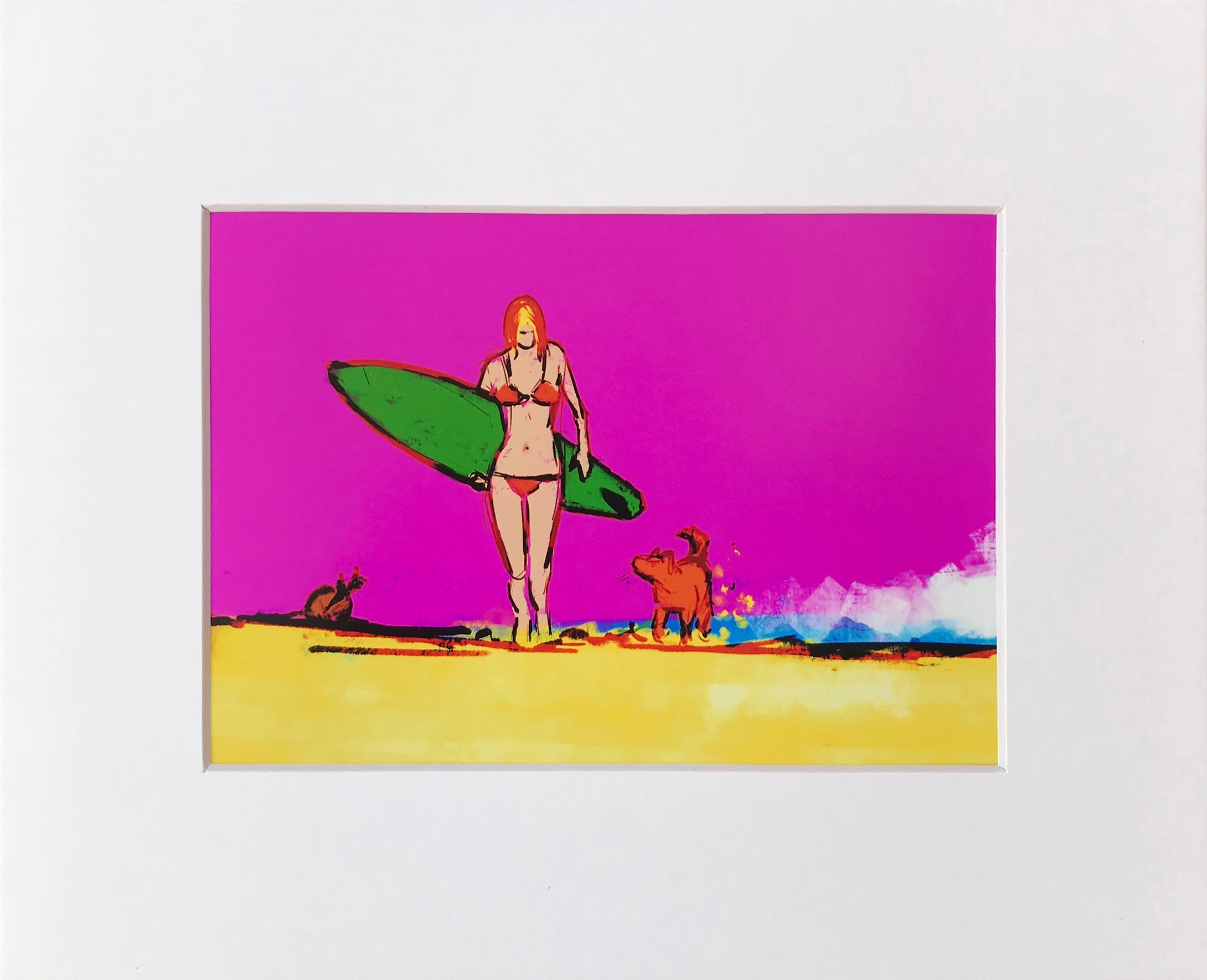 Single Fin Girl - Matted Print (fits into 8