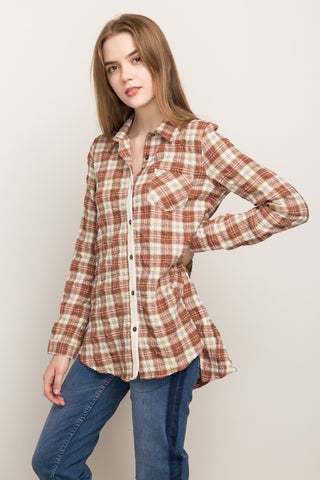 Plaid Back Ruffle Top