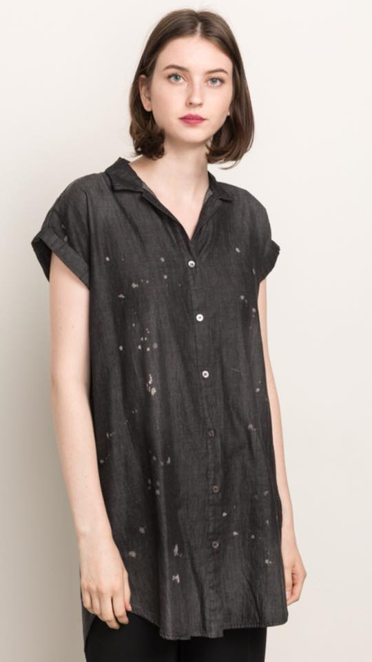 Spot-washed Short Sleeve Tunic