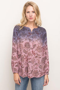 Round Hem Long Sleeved Dip-Dye Blouse