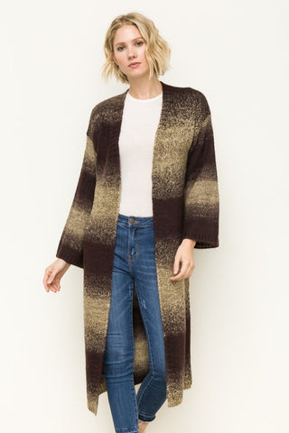 Brown Stripe Long Cardigan