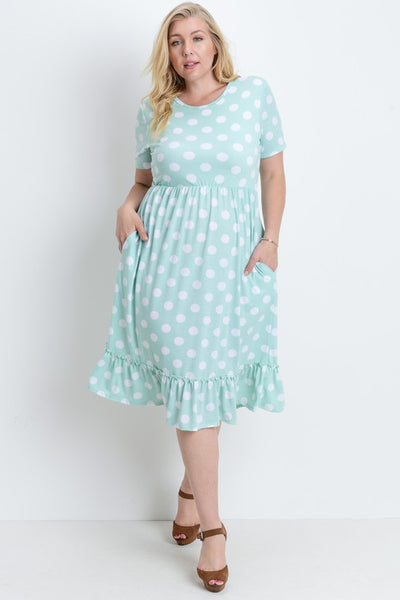 Misses Large and PLUS SIZE Polka Dot Dress