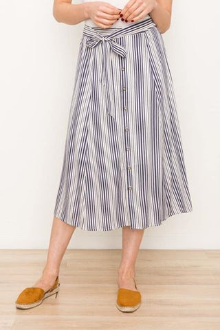 Button Down Stripe Skirt